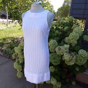 lacy white ELIZA J shift dress S M